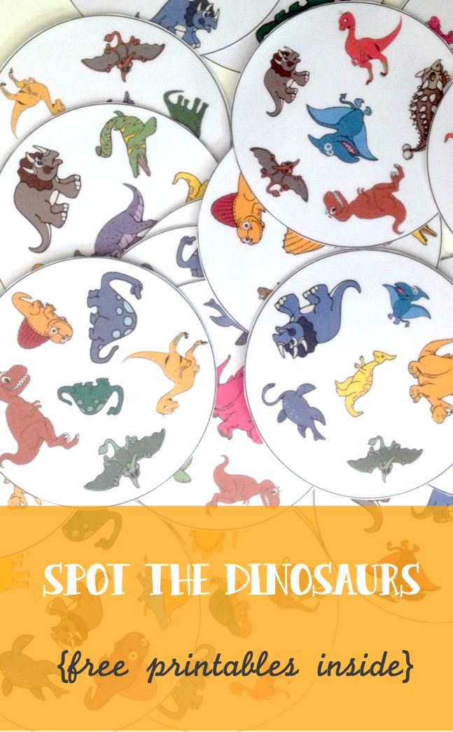 Spot the dinosaurs free printable