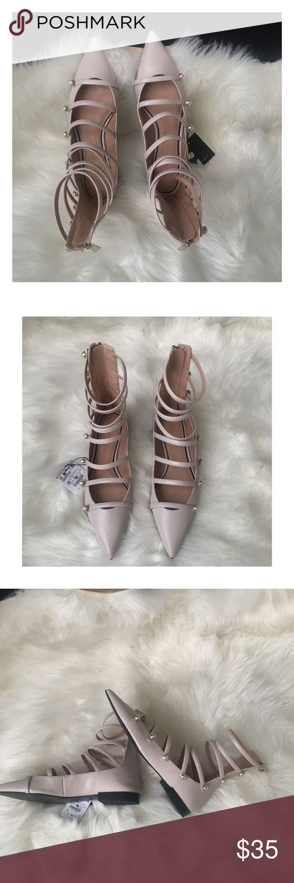 """💋JUST IN💋 ZARA NUDE ANKLE BOOTS WITH PEARLS Nude Ankle Boot Ballerinas  Featuring multiple straps and faux pearls at the outside  Pointed toes and back zip fastening  Sole height 0.9"""" Wear with your favorite dress or pair with your favorite Jeans to stand out. Zara Shoes Ankle Boots & Booties"""