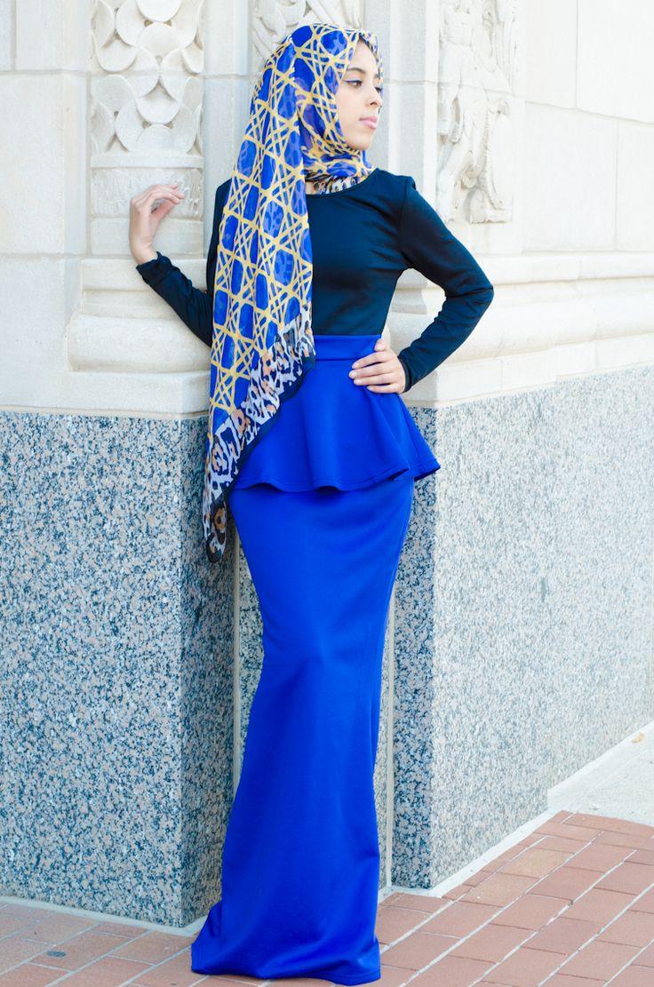 Royal Two tone peplum maxi dress