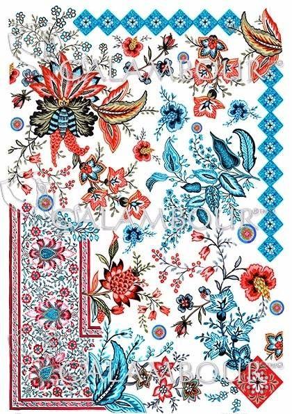 DGR 299 - papier ryżowy Gipsy liście kwiaty bordiury