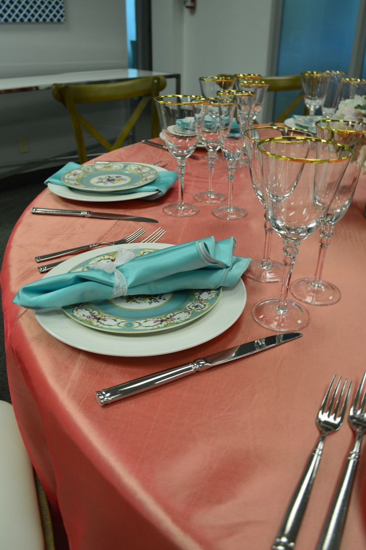 Coral Pink Taffeta Table Linen, Hudson Flatware, Adriana Dinner Plate, Vintage Marie Dessert Plate, Bella Gold Glassware & Tiffany Blue Satin Napkin Tied with a Lace Ribbon | Chair-man Mills