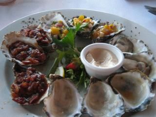 Oysters medly - natural, Kilpatrick (bacon onion and soy sauce) and tropical (mango and eschallots)