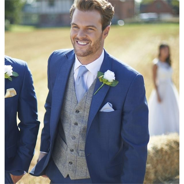Blue and grey groomswear from Weddington Suit Hire