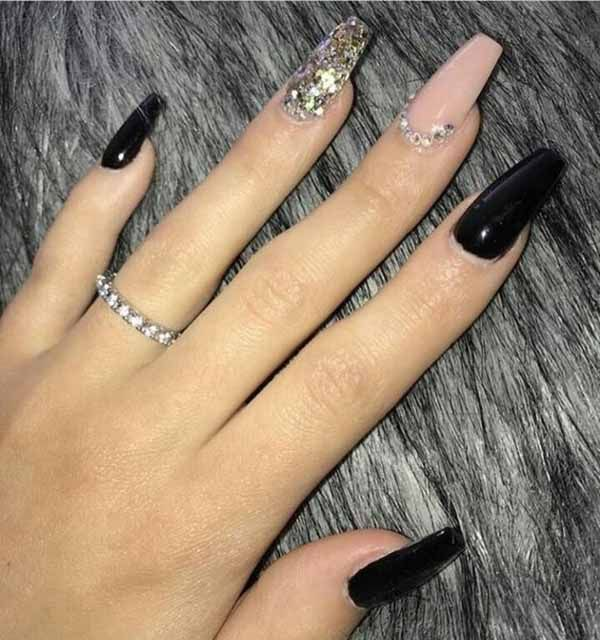 These 25 Options Have Reached Not Only The Ombre Black Long Acrylic Coffin Nail Design Ideas But Also Coffin Nails Designs Black Ombre Nails Coffin Shape Nails
