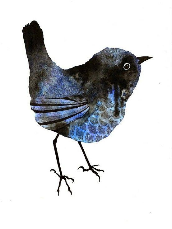 Blue - bird - pássaro - azul - emma wiesenekker by Oliver