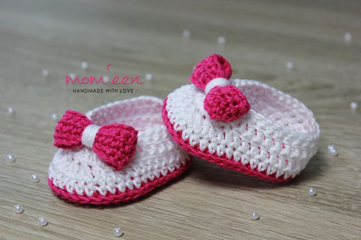 Baby Mokassins Lina mit Schleife in pink weiß 0-3 Monate