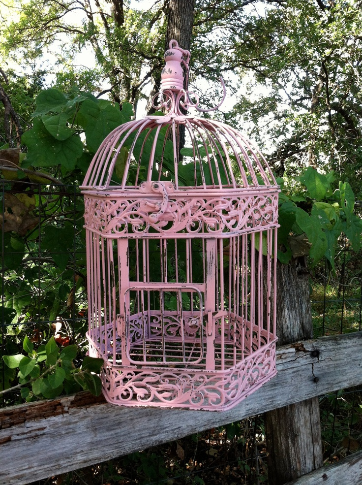 Victorian Pink Shabby Chic Bird Cage / Hanging Bird Cage. $48.00, via Etsy.