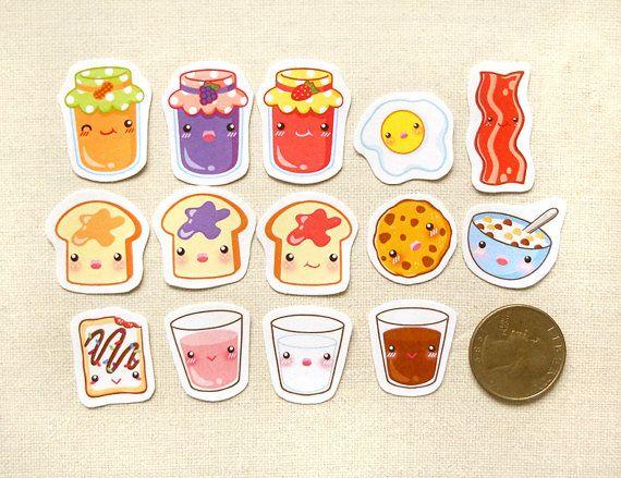 Breakfast Stickers. Kawaii Stickers. Food Stickers. Erin ...