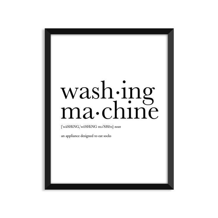 Washing Machine definition, dictionary art print, college