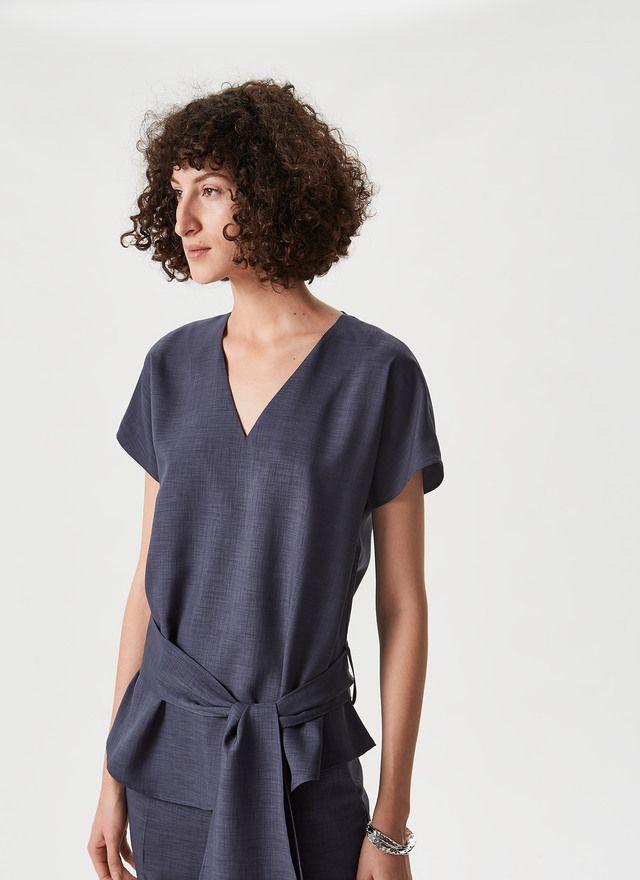 Camisa Elástica Con Cinturón A Juego Blusas Mujer Moda Para Mujer Ropa