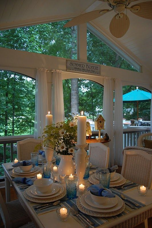 ❥ I would never leave this porch.Decor, Tables Sets, Blue, Tablescapes, Beautiful Porches, Candles, White, Windows, Romantic Dinner