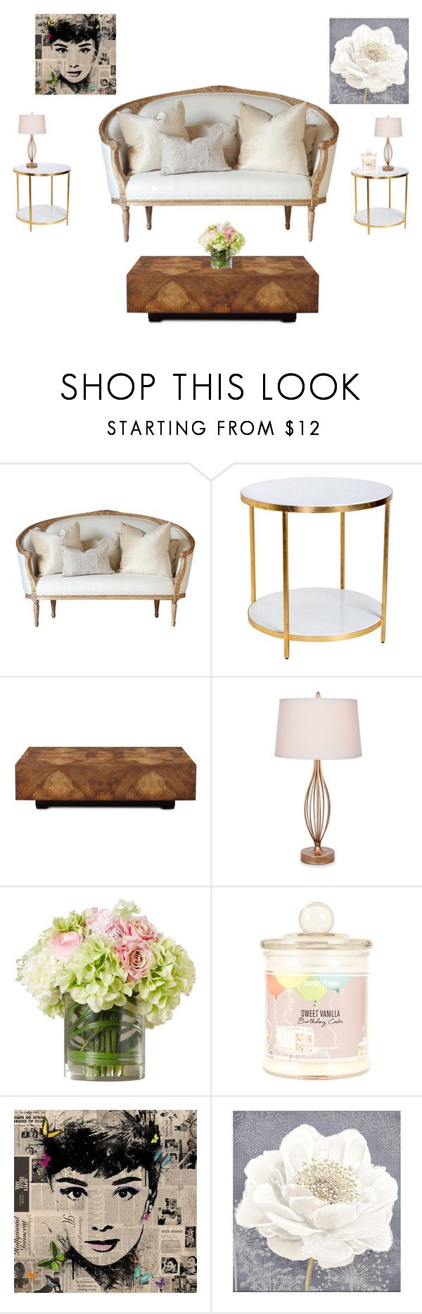 """""""Vintage- whtie gold Sitting space"""" by toriher on Polyvore featuring interior, interiors, interior design, home, home decor, interior decorating, John-Richard, Catalina, Graham & Brown and vintage"""