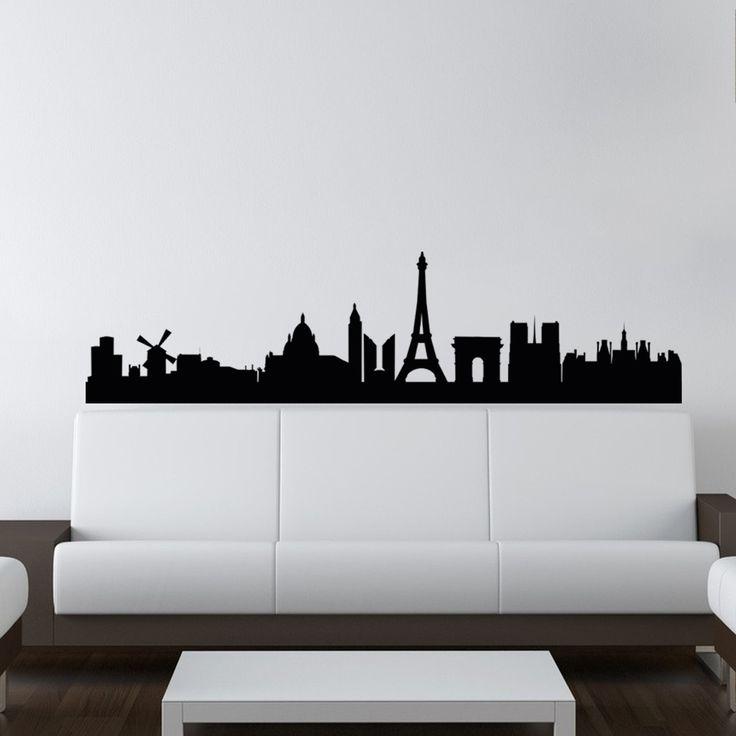 Prachtige muursticker met de Skyline van Parijs. Leverbaar in verschillende afmetingen.