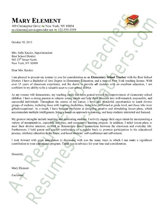 Elementary Teacher Cover Letter Sample | Letter sample, Cover ...