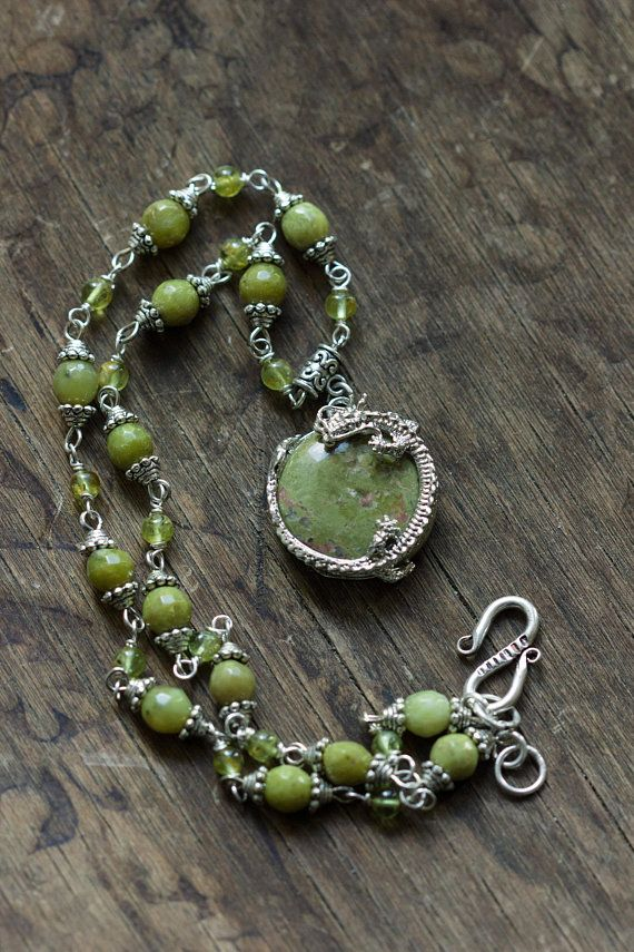 Dragon Pendant Necklace, Green Jasper Stone Elvish Necklace, Silver Green Jewelry, Dragon Age Jewelry, Elf Garden Gift, Fantasy Necklace