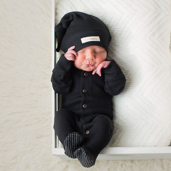 Loved Baby Black Organic Thermal Long Sleeve Overall | Shop GOTS Certified Baby Sleepers at SugarBabies