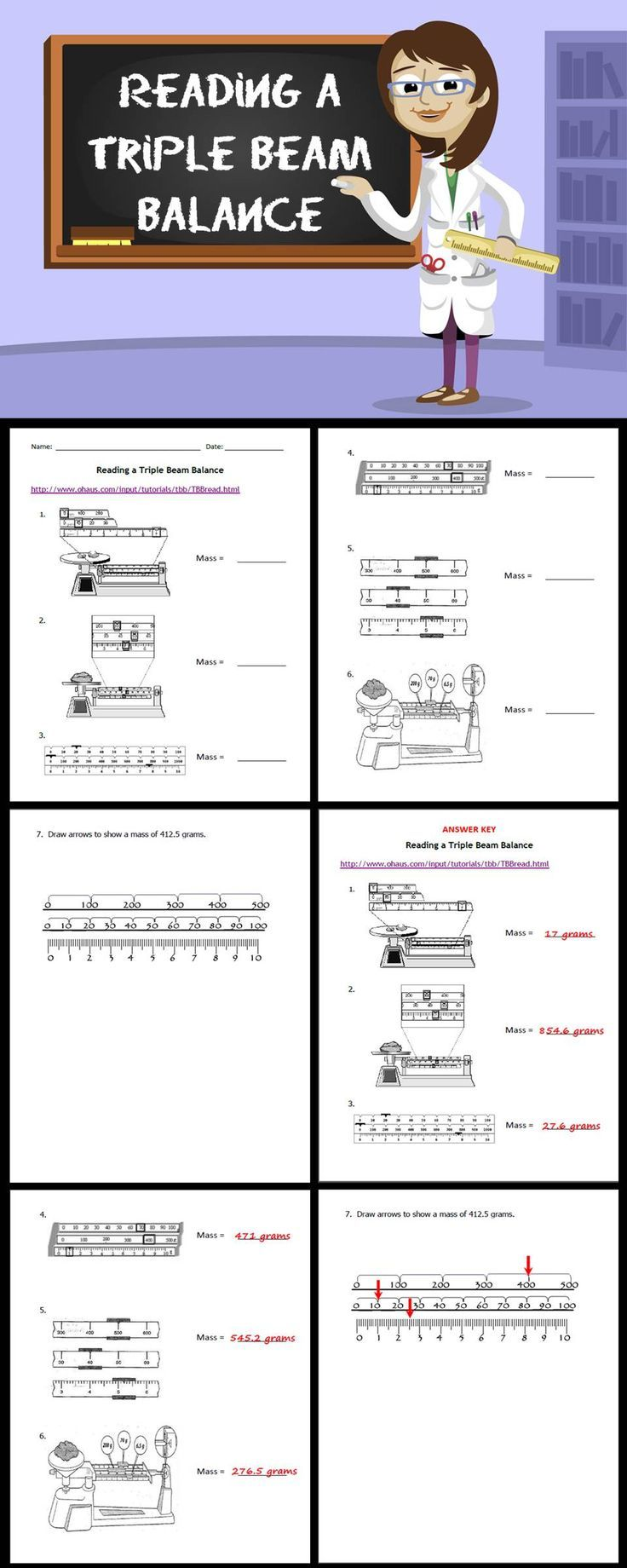 Reading A Triple Beam Balance Science Ideas Grades 3 5