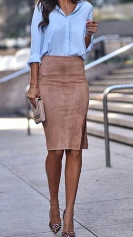 Casual Style #OOTD #suede Kamelrock Blaues Hemd Pumps Clutch Tan #sip … # Blau …