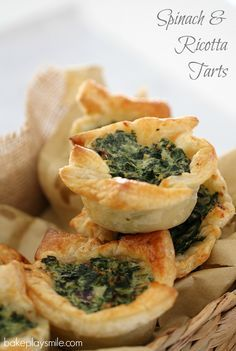 These Spinach & Ricotta Tarts with puff pastry make the most delicious little party food treat… or even a nice lazy lunch. Quick and easy to prepare, great tasting and freezable! These really are so good. #savoury #snacks #freezer #pastry #conventional #thermomix