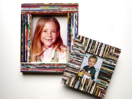 DIY picture frames or boxes with old magazines
