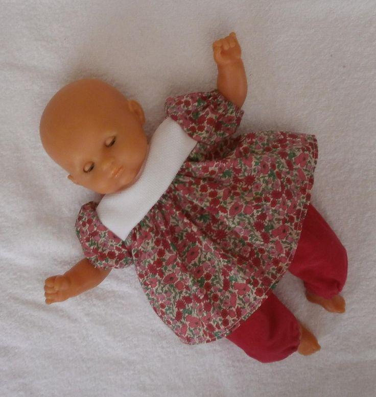 Habits poupon 30 cm - ensemble rose vif, pantalon et tunique Liberty : Jeux, jouets par mcl-poupees
