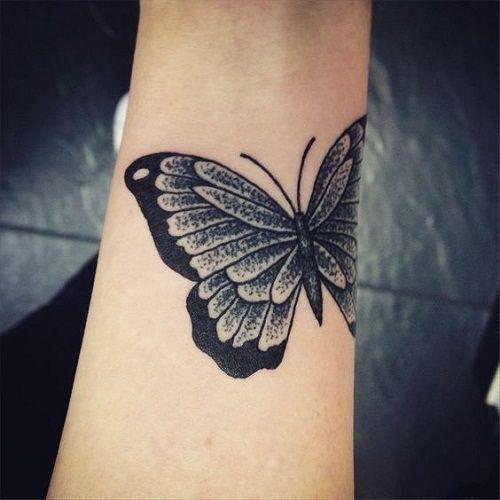 Preto Pulso Tatuagem De Borboleta Design