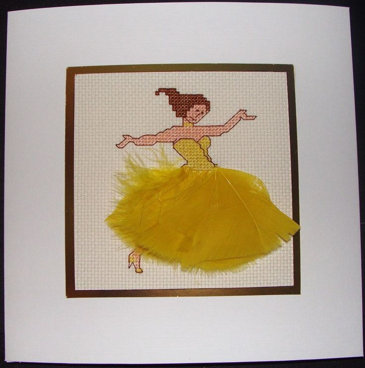 Completed Cross Stitch Extra Large Card - Beautiful Dancer In Yellow | eBay