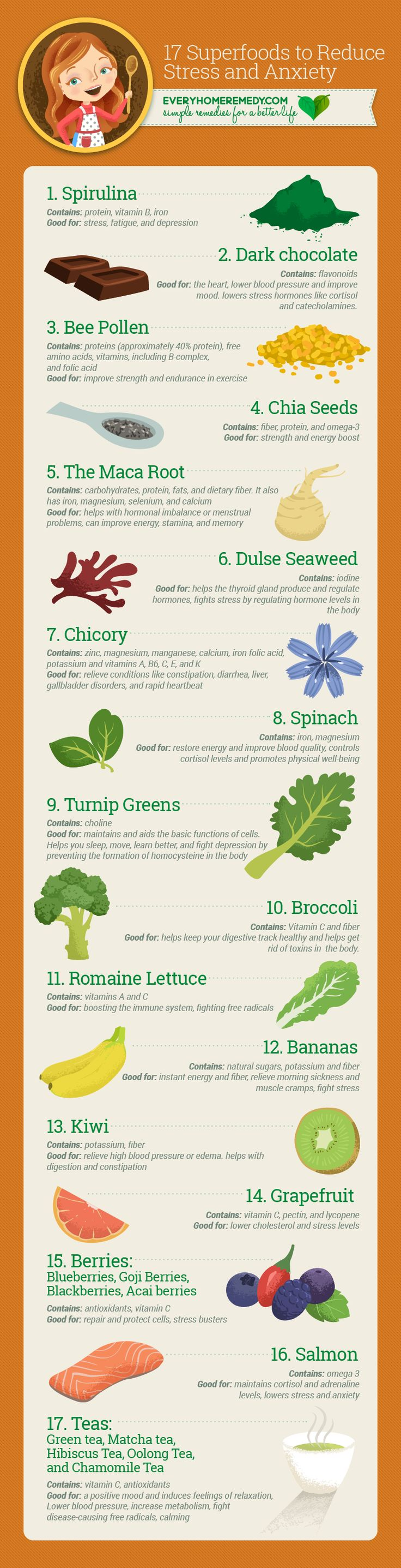 17 Superfoods to Reduce Stress and Anxiety - Naturally  #homeremedies to enhance your sense of health and well being.