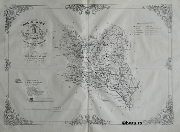 """Districtul Vasluiu, întocmit şi editat de Maior D. Pappasoglu, 1864. Imagine din colecțiile Bibliotecii """"V.A. Urechia"""" Galați."""