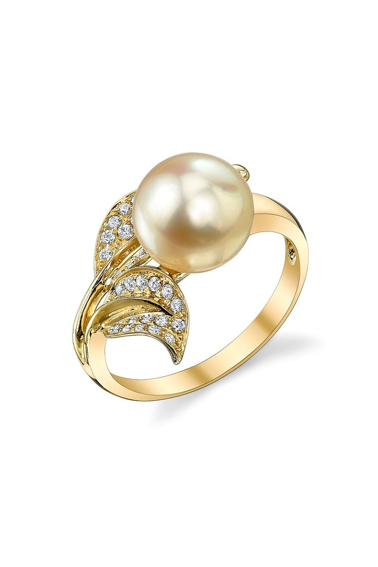 Radiance Pearl 18k Yellow Gold 9mm Golden South Sea Pearl & Diamond Leaf  Ring