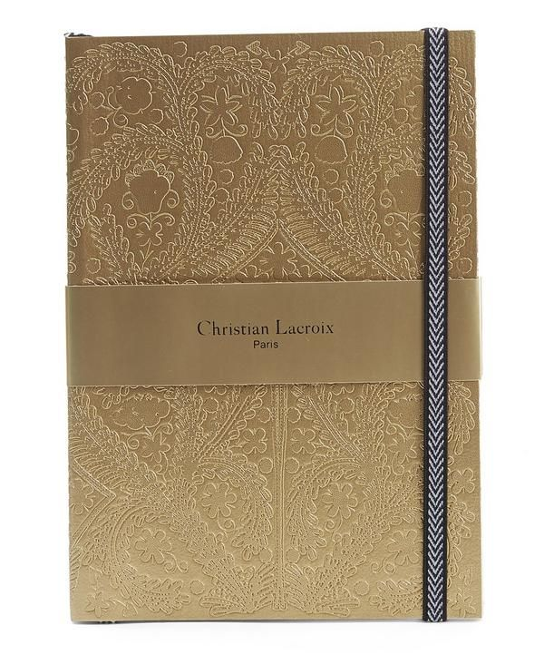 Style Set take note; this Christian Lacroix A5 Paseo Notebook with its embossed surface pattern, elasticated herringbone closure and matching ribbon marker is the ultimate in stylish stationary.