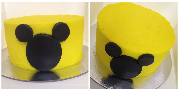 Vanilla buttercream sponge cake Mick mouse smash cake