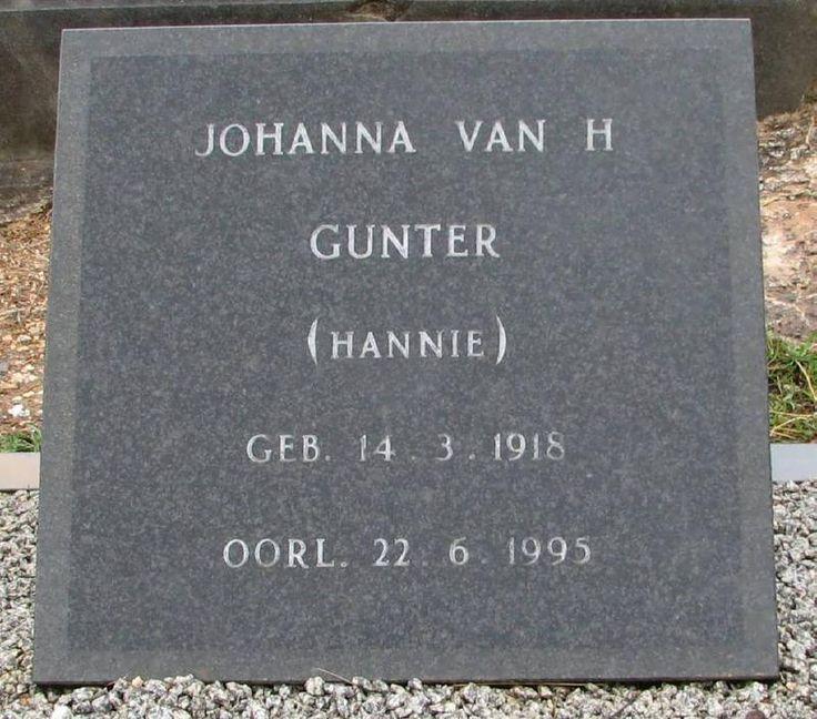 GUNTER Johanna Van H 1918-1995 Western Cape, SWELLENDAM, New main cemetery