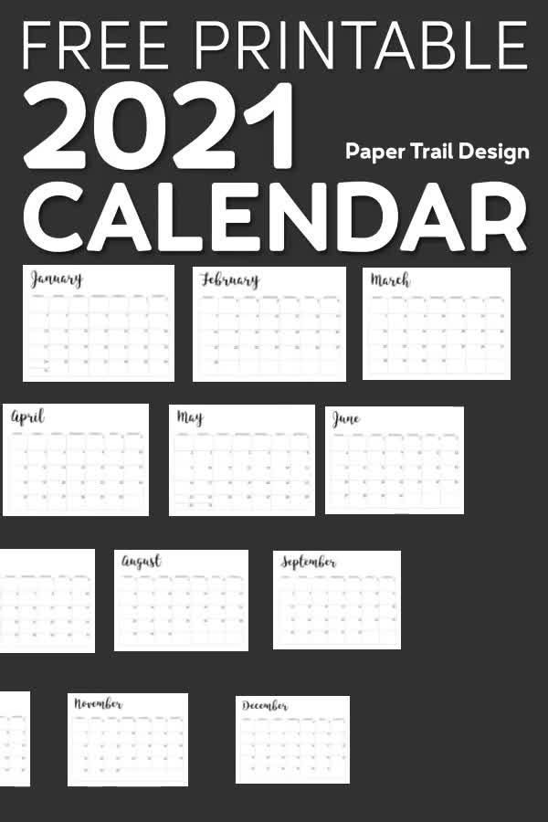 2021 Calendar Printable Free Template Paper Trail Design Calendar Printables Free Printable Calendar Templates Printable Calendar Template