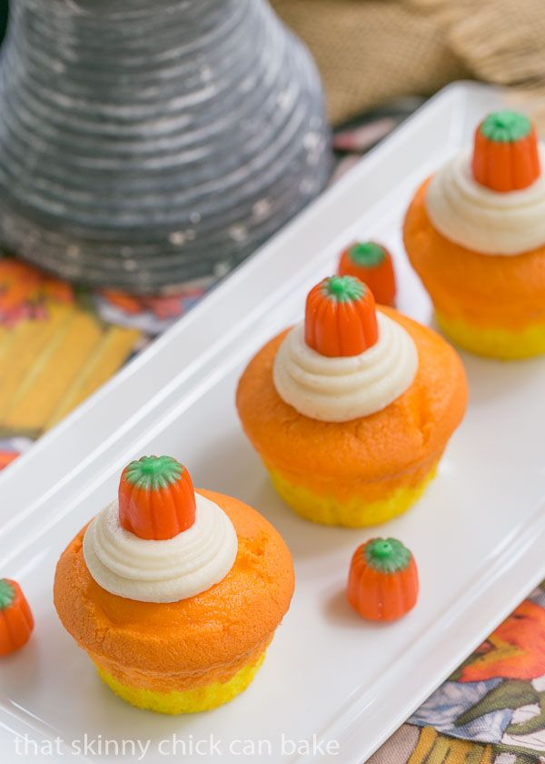 Candy Corn Cupcakes make the perfect fall and Halloween treat for parties and trick or treating // A Cedar Spoon