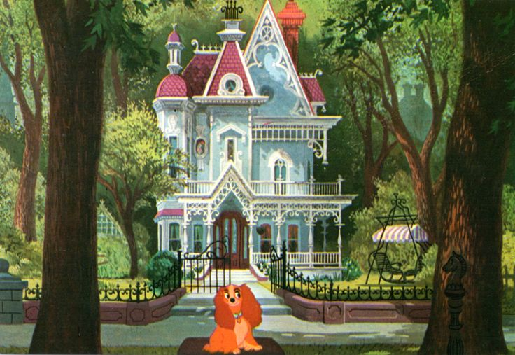 "Lady in front of her house from Walt Disney's ""Lady and the Tramp"" (1955)."