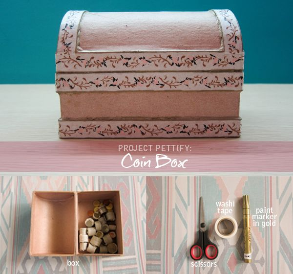 Coin box need not to be boring! Washi tapes used for decoration again including a gold paint marker.