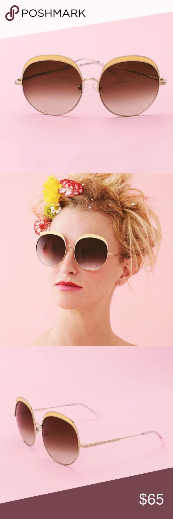cloud magic sunnies these oversized sunnies by crap eyewear are giving us major modern-day jackie-o vibes! available in seafoam or yellow, these sunnies are the perfect way to glam up any look.  brushed gold wire and yellow enamel inlay  cr-39 lenses with 100% uva/uvb protection  spring hinges to ensure comfort and fit  fit bridge: 16mm eye: 58mm stems: 146mm crap eyewear Accessories Sunglasses