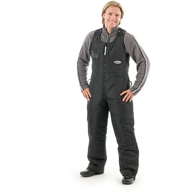 Stay safe and warm with these ATV competition overalls. This bib is made for outdoor use with its heat sealed seams, elasticized shoulder straps, and water resistant polyester fabric. It is also easy to clean, being machine washable.