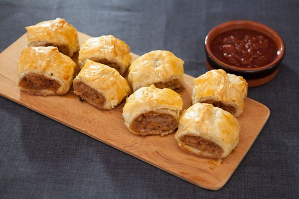 Merna was the mother of a friend and her sausage rolls were famous. These sausage rolls can be cooked in advance and then reheated at 180°C for 15 minutes when required.
