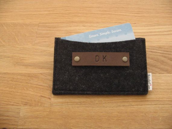 Monogrammed Business Card Holder-Wallet- FREE SHIPPING-Eco Friendly - Charcoal - Silver Grey- Handmade- Great Gift for men on Etsy, $21.00