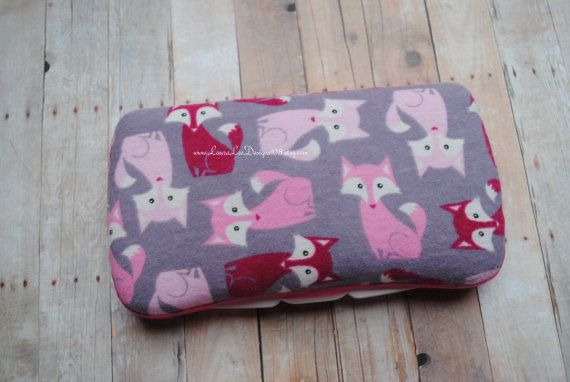 Pink Foxes on Gray Boutique Style Travel Baby Wipe Case, Personalized Wipe Case, Girly Foxes, Nappy Wipe Case, Monogrammed Wet Wipe Case