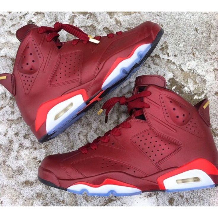 This Jordan 6 Ron Burgundy themed custom was made by @_theheyman_ (Instagram)  #
