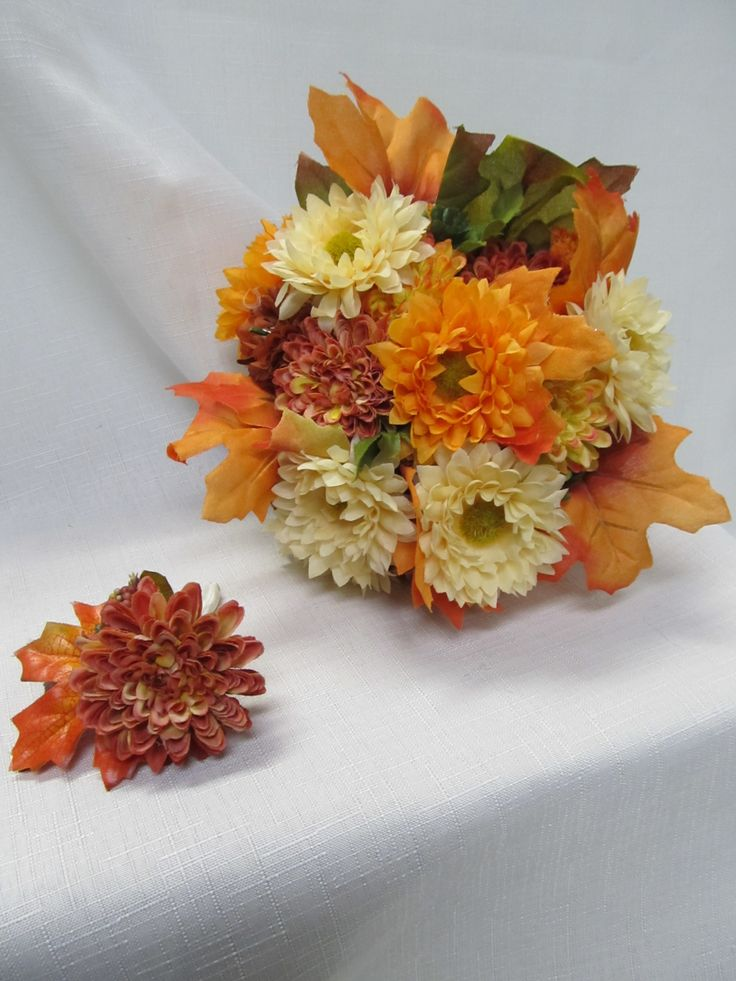 Fall Wedding Bouquets Fake : Fall silk flowers bridal bouquets the sisters two