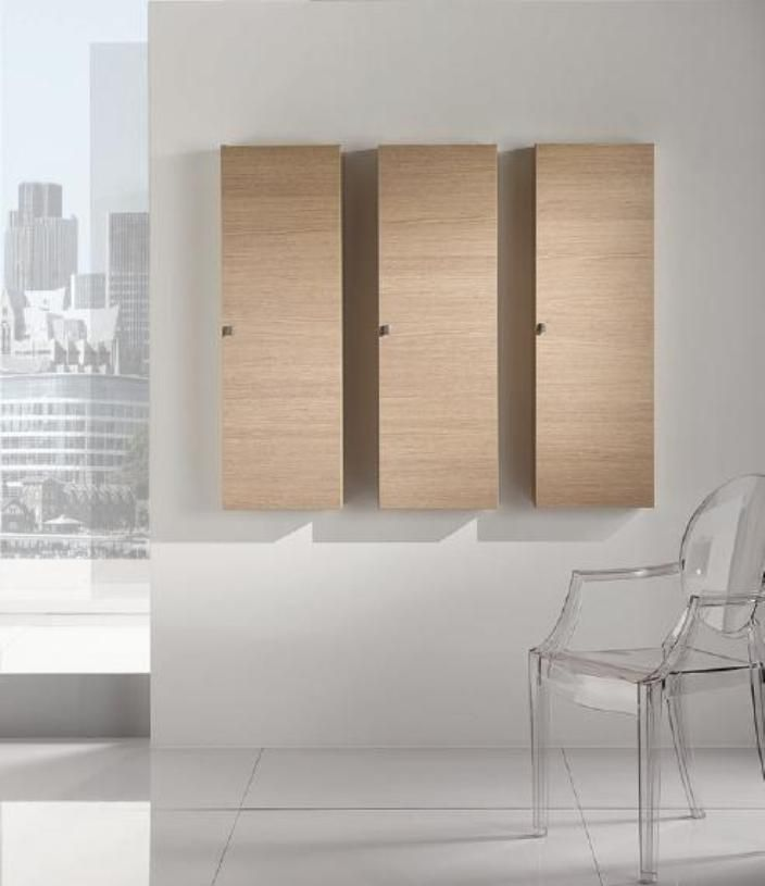 wall hung bathroom cabinet storage linen cabinet in bleached oak wood