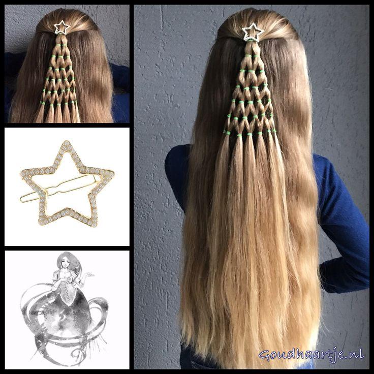 Christmas tree with a beautiful star hairclip from the webshop www.goudhaartje.nl (worldwide shipping). Hairstyle inspired by: @agravesbeauty (instagram). #hair #christmashair #christmasbraid #christmastree #haar #vlecht #vlechten #hairclip #hairstyle #braid #braids #hairstylesforgirls #plait #trenza #peinando #beautifulhair #gorgeoushair #stunninghair #hairaccessories #hairinspo #braidideas #amazinghair #halfupdo #longhair #longhairdontcare #goudhaartje