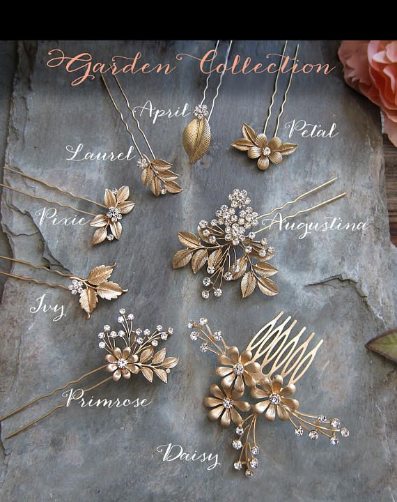 Bladgoud Laurel Flower Hair Pin Boho Bridal haar pin Vintage