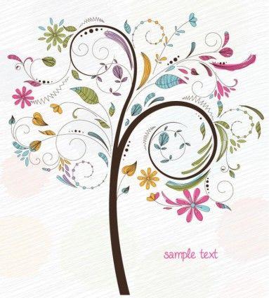 Redemoinho abstrato Floral Árvore gráfico de vetor