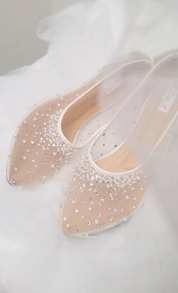 1193a32427acc Wedding Shoes - Transparent White Lace Pearl Rhinestone Ivory ...