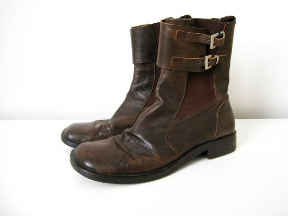Vintage Mens Brown Leather Boots  Size 75 by CutandChicVintage, $45.00  pity they're too small for me.